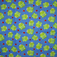 Frogs on Blue Fabric