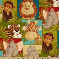Jungle Babies Squares Fabric