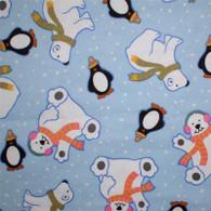 Polar Bears & Penguins Flannel Fabric