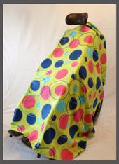 Crazy Dot Lime Fleece Wheelchair Poncho- Fabric