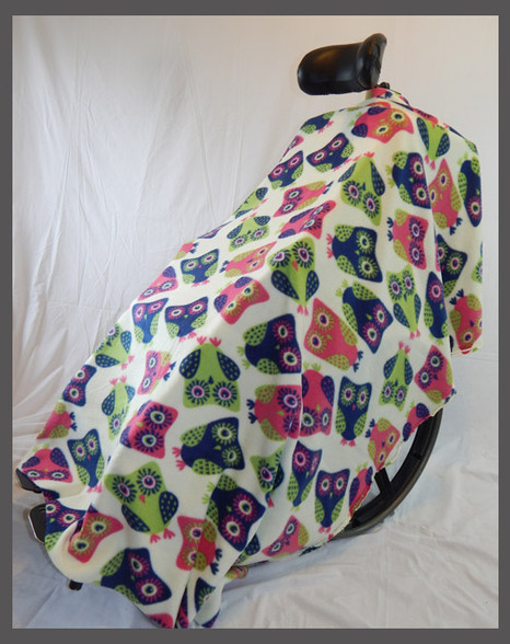 Brightly Colored Owls on White - Fleece Wheelchair Poncho