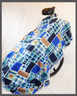 Blue & Brown Patches Fleece Poncho