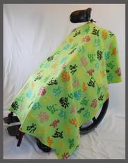 Kanji on Green - Fleece Wheelchair Poncho