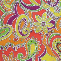 Funky Orange Paisley Fabric
