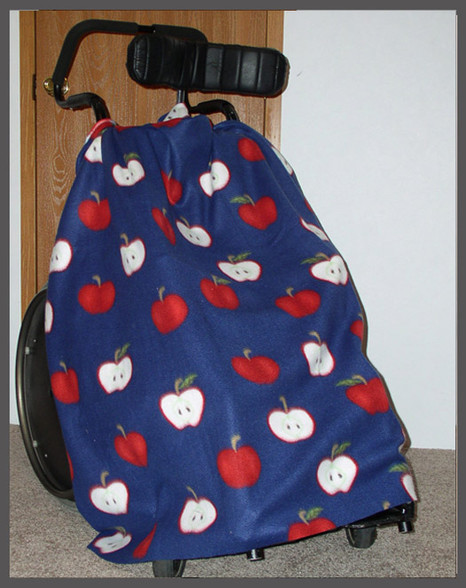 Apples on Navy- Wheelchair Poncho