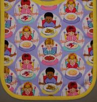 Small Standard Bib- Let's Eat (Yellow Trim) SNAP CLOSURE