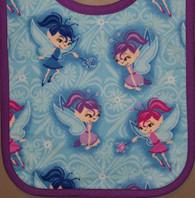 Small Standard Bib- Fairies on Blue (Flannel) Purple Trim