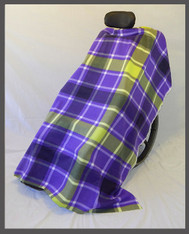 Purple & Yellow Plaid- Fleece Wheelchair Poncho