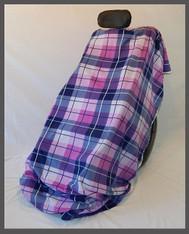 Purple & Pink Plaid- Fleece Wheelchair Poncho