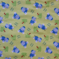 Hippos on Green Fabric