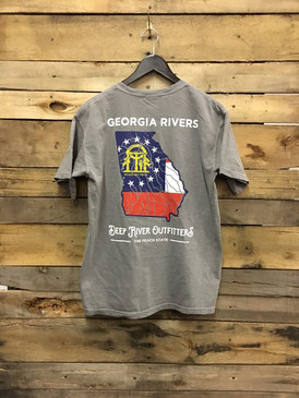Georgia Rivers Flag shirt printed on Grey Comfort Colors short sleeve pocket tees.