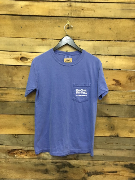 Camp Out tee in Comfort Colors Periwinkle.