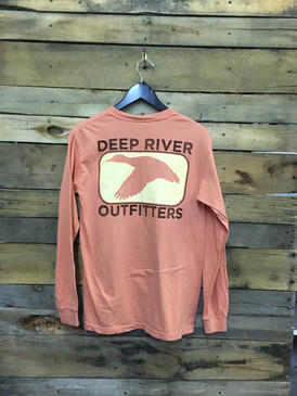 Deep River Duck Long Sleeve Tee in Comfort Colors Terracotta.