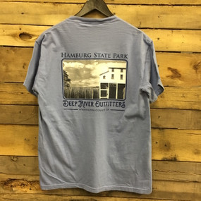 Hamburg State Park shirt printed on Comfort Colors Washed Denim short sleeve pocket tee.