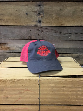 Deep River Outfitters Kids Cap Logo on charcoal  with neon red mesh trucker hat is perfect for every kid.