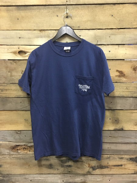 Deep River Fishing Trip short sleeve pocket tee in Comfort Colors True Navy.