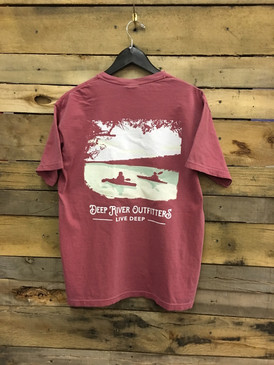 Deep River Kayak Trip short sleeve pocket tee in Comfort Colors brick.