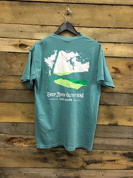 Deep River Rope Swing short sleeve pocket tee in Comfort Colors seafoam.