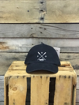 Deep River Outfitters Paddles-X-Kayak Black chino twill Richardson hat with garment washing; relaxed contoured crown shape. Hideaway backstrap with metal comfort buckle provides perfect one size fits most fit.