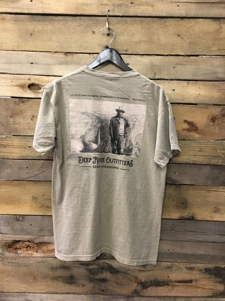 Our Deep River Outfitters Outdoorsman Series: Theodore Roosevelt tee is available in only the most best Comfort Colors short sleeve pocket tee in Khaki.