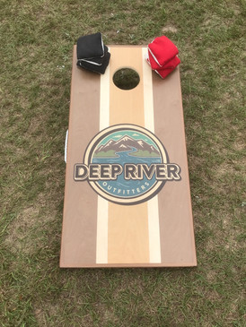 Our handmade specialty Deep River Outfitters Cornhole Boards and Bags.