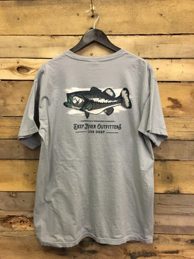 Our DRO Rivers Species Series: Largemouth Bass tee is available in only the most best Comfort Colors short sleeve pocket tee in Granite.