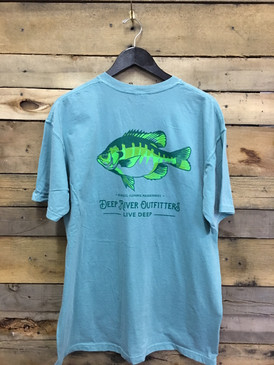 Our DRO Rivers Species Series: Bluegill tee is available in only the most best Comfort Colors short sleeve pocket tee in Seafoam.