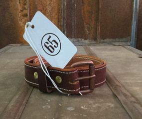 65 Leather Men's Belt Brown Leather Rustic Copper Buckle
