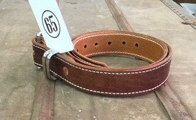 65 Leather Men's Belt Brown Leather Polished Metal Buckle