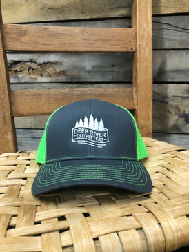DRO Trees and Stream Logo Charcoal Neon Green Hat