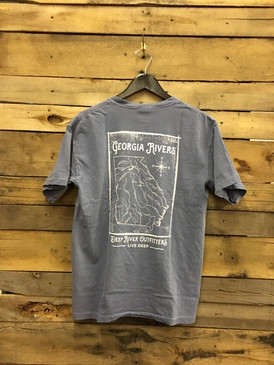 Deep River Outfitters celebrates American rivers with our Georgia Rivers tee. Only the best quality Comfort Colors short & long sleeve pocket tee in Blue Jean.