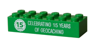 15 Years of Geocaching Trackable LEGO Brick- Green