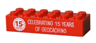 15 Years of Geocaching Trackable LEGO Brick- Red