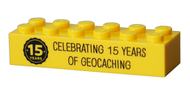 15 Years of Geocaching Trackable LEGO Brick- Yellow