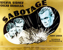 Poster & Sylvia Sidney in Sabotage aka A Woman Alone (Alfred Hitchcock) Poster and Photo