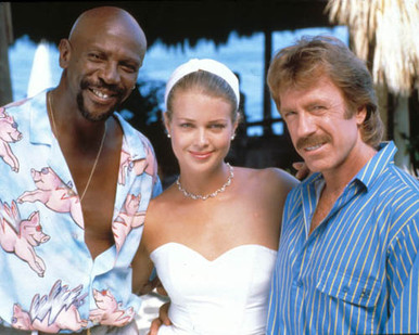 Chuck Norris & Melody Anderson in Firewalker Poster and Photo