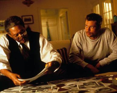 Brad Pitt & Morgan Freeman in Seven Poster and Photo