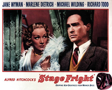Poster & Marlene Dietrich in Stage Fright a.k.a. Le grand alibi (Alfred Hitchcock) Poster and Photo