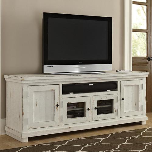 Willow 74 Tv Stand Distressed White Orange Park Furniture