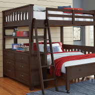 Highlands Full Loft Bed with Lower Bed: Espresso