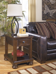Porter Chair Side End Table: Rustic Brown