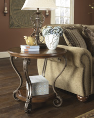 Nestor Round End Table: Medium Brown