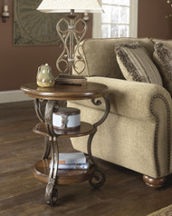 Nestor Chair Side End Table: Medium Brown