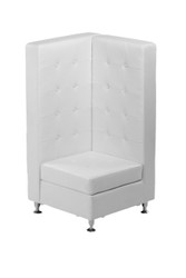 VIP Modular White Leather High Back Corner Chair