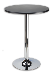 "Pedestal bar table with 24"" black top"