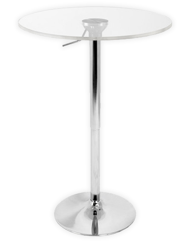 """Adjustable Pedestal Bar Table with Clear Acrylic 24"""" Top"""