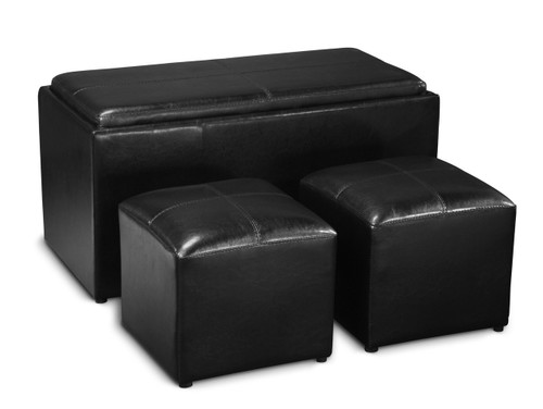 Black 3-piece Storage Bench and Ottoman Set