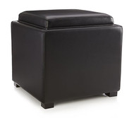 Black Leather Cube Storage Ottoman