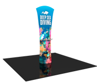 Formulate Essential Entice Curved Banner Stand with Shelf and Custom Graphic