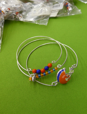 13 SETS = 39pc Blue & Orange FOOTBALL Bracelets #15164L ()